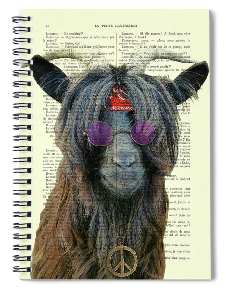 Goat In Hippie Clothes With Purple Glasses And Peace Necklace Spiral Notebook