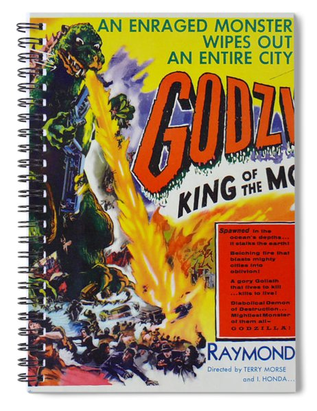 Godzilla King Of The Monsters An Enraged Monster Wipes Out An Entire City Vintage Movie Poster Spiral Notebook