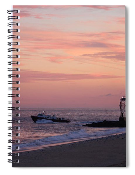 Going Fishing Under Pink Skies Spiral Notebook