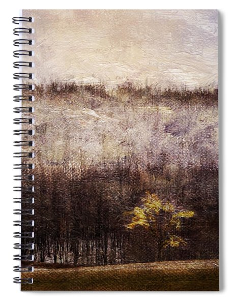 Gold Leafed Tree In Snow Spiral Notebook