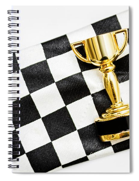 Gold Trophy On A Checked Sport Flag Spiral Notebook