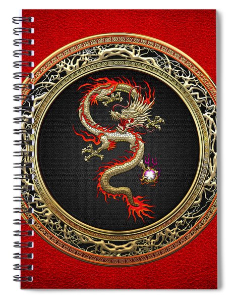 Golden Chinese Dragon Fucanglong On Red Leather  Spiral Notebook
