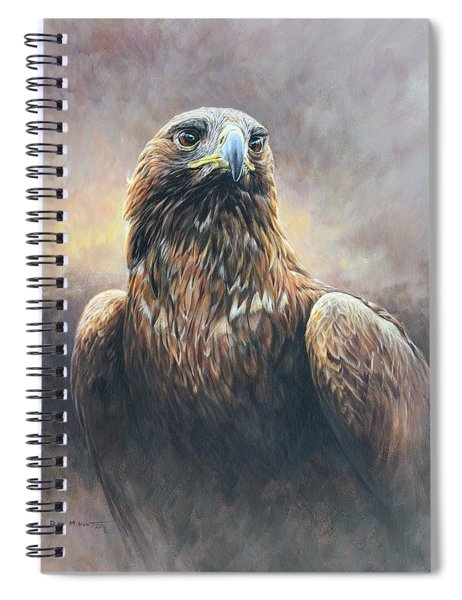 Spiral Notebook featuring the painting Golden Eagle Portrait by Alan M Hunt