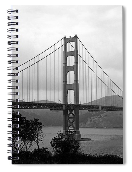 Golden Gate Bridge- Black And White Photography By Linda Woods Spiral Notebook