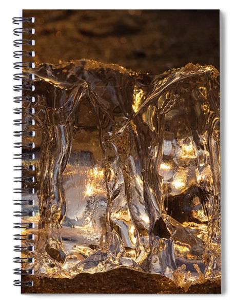 Spiral Notebook featuring the photograph Golden Ice by Heather Kenward