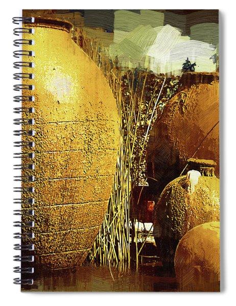 Golden Large Fountain Urns Spiral Notebook