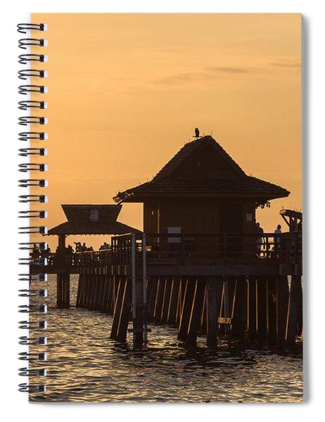 Golden Light At Naples Pier Spiral Notebook by Ed Gleichman