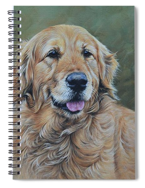 Spiral Notebook featuring the painting Golden Retriever Portrait by Alan M Hunt