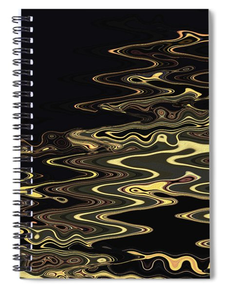 Spiral Notebook featuring the digital art Golden Shimmers On A Dark Sea by Gina Harrison