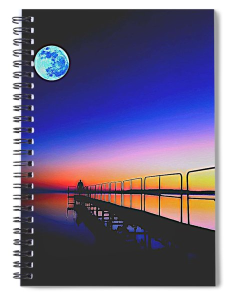 Golden Sunset With Full Moon Spiral Notebook