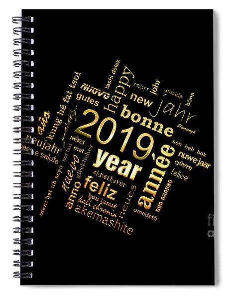 Golden Word Cloud New Year Card Spiral Notebook