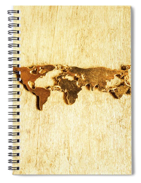 Golden World Continents Spiral Notebook