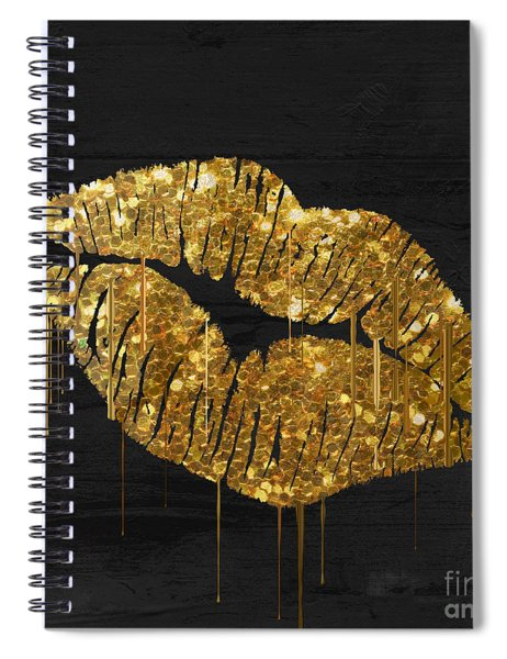 Gold Lipstick Spiral Notebook