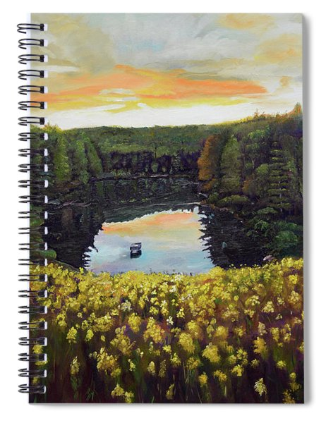 Spiral Notebook featuring the painting Goldenrods On Davenport Lake-ellijay, Ga  by Jan Dappen