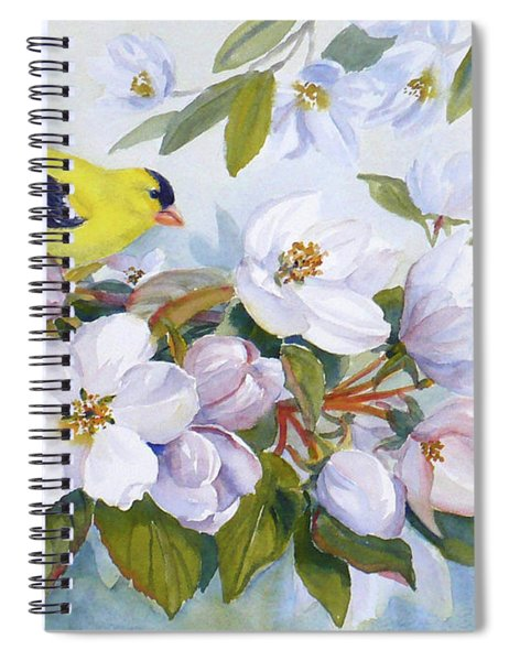 Goldfinch And Crabapple Blossoms Spiral Notebook