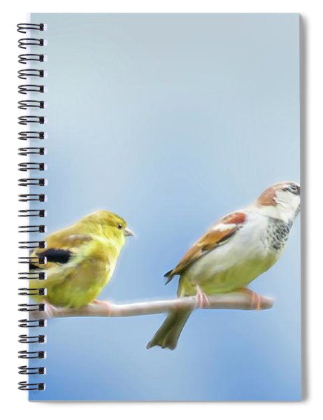 Goldfinch And House Sparrow Perching Together. Spiral Notebook