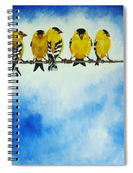 Goldfinch On A Wire Spiral Notebook