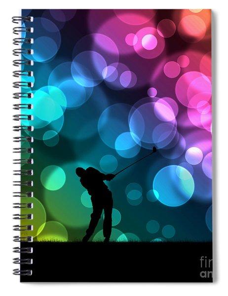 Golfer Driving Bokeh Graphic Spiral Notebook