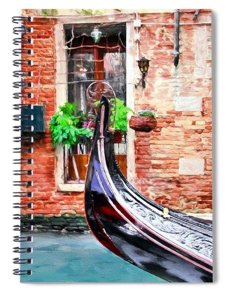 Spiral Notebook featuring the photograph Gondola In Venice by Mel Steinhauer