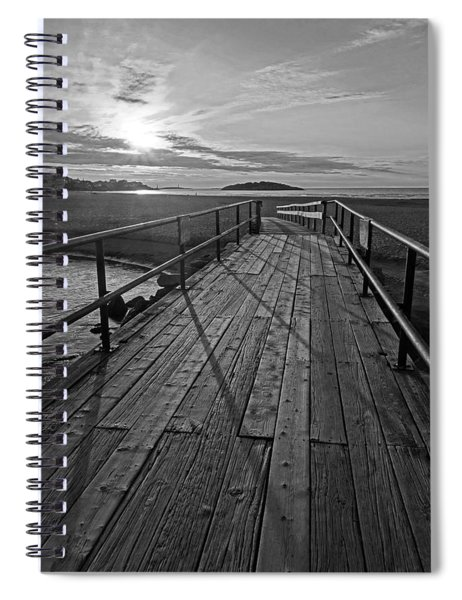 Good Harbor Beach Footbridge Shadows Black And White Spiral Notebook