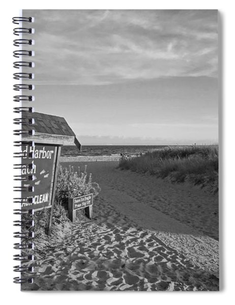 Good Harbor Sign At Sunset Black And White Spiral Notebook