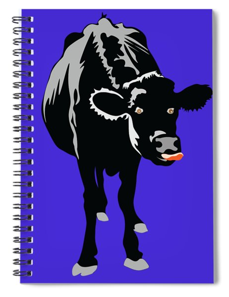 Goofy Looking Black Cow Licks Her Nose Spiral Notebook