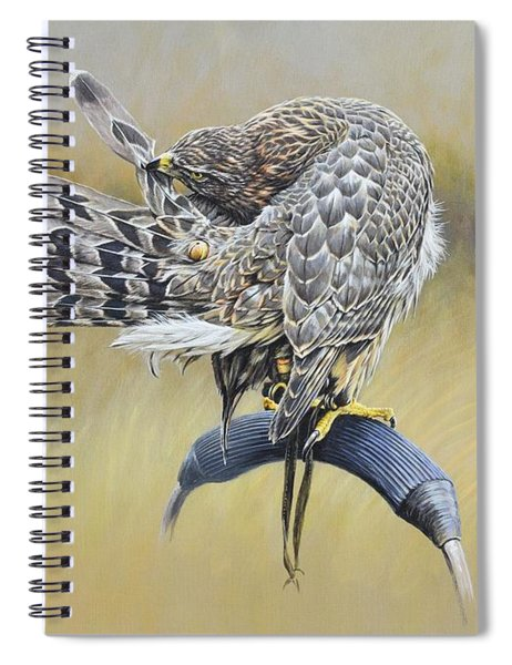 Spiral Notebook featuring the painting Goshawk Preening by Alan M Hunt