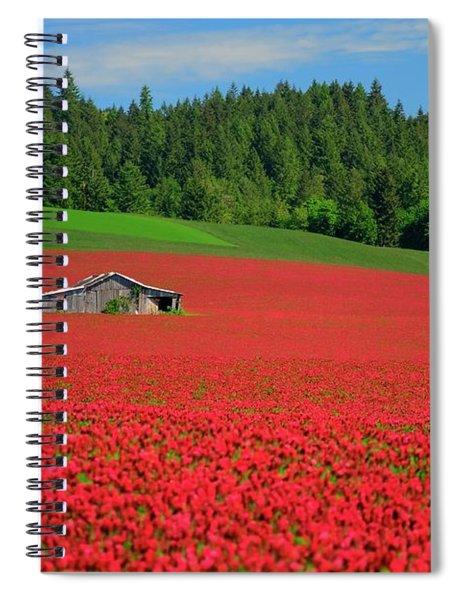 Grain Bins Barn Red Clover Spiral Notebook