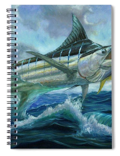 Grand Blue Marlin Jumping Eating Mahi Mahi Spiral Notebook