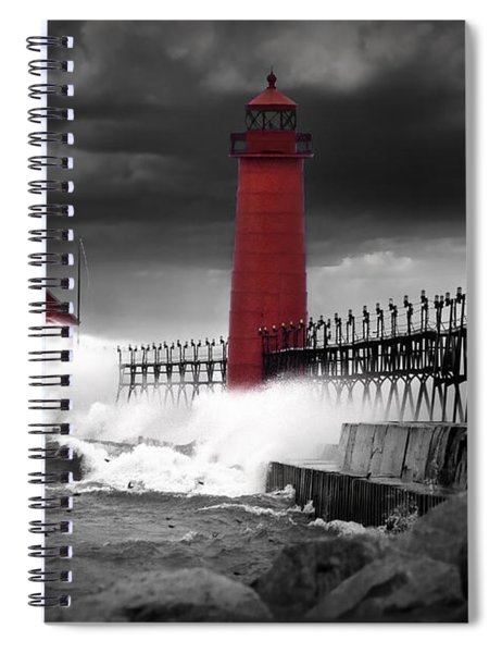 Grand Haven Lighthouse In A Rain Storm Spiral Notebook