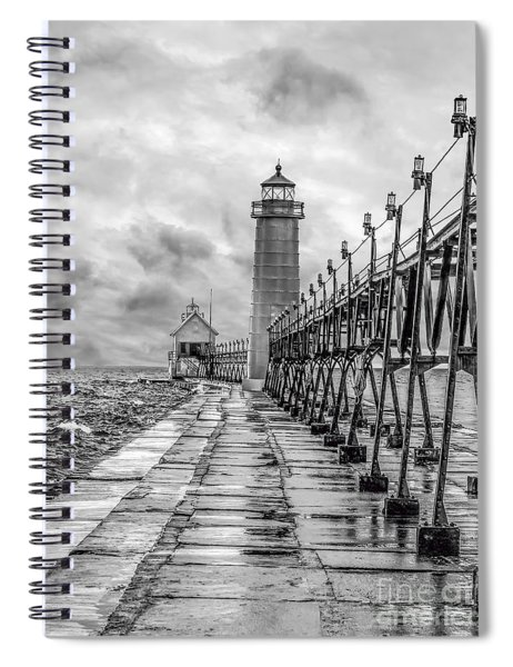 Grand Haven Lighthouse - Monochome Spiral Notebook