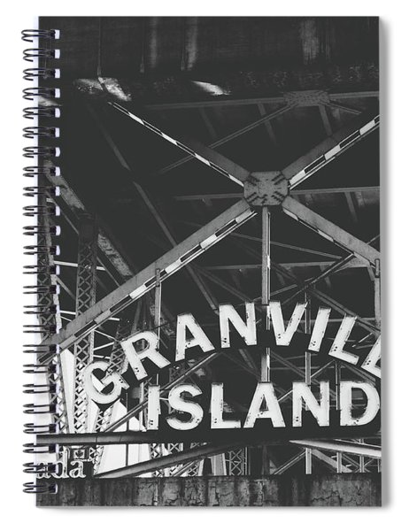 Granville Island Bridge Black And White- By Linda Woods Spiral Notebook