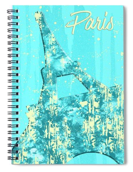 Graphic Style Paris Eiffel Tower Cyan Spiral Notebook