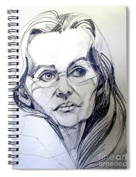 Graphite Portrait Sketch Of A Woman With Glasses Spiral Notebook