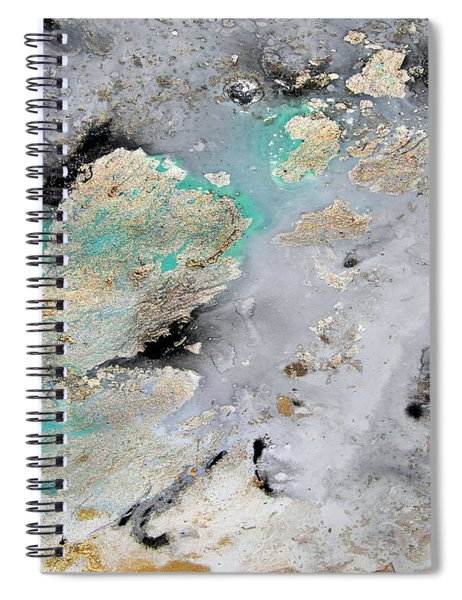 Gray, Gold, Black And Teal Spiral Notebook