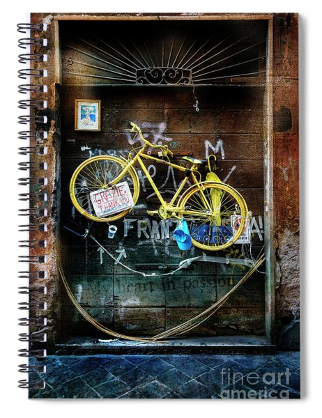Grazie Yellow Bicycle Spiral Notebook