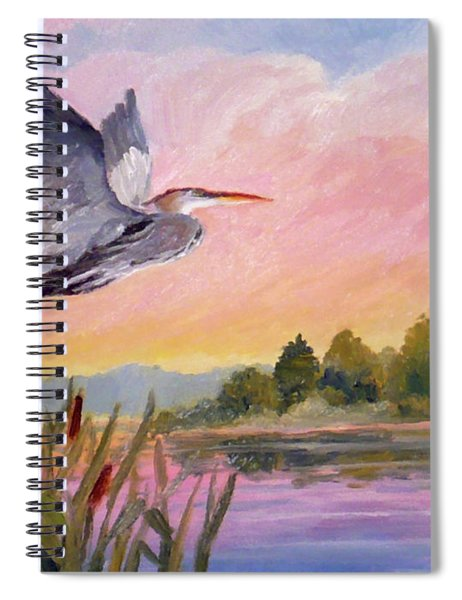 Great Blue Heron At Dawn Spiral Notebook