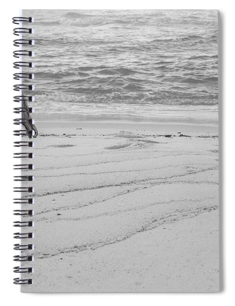 Great Blue Heron Black And White  Spiral Notebook