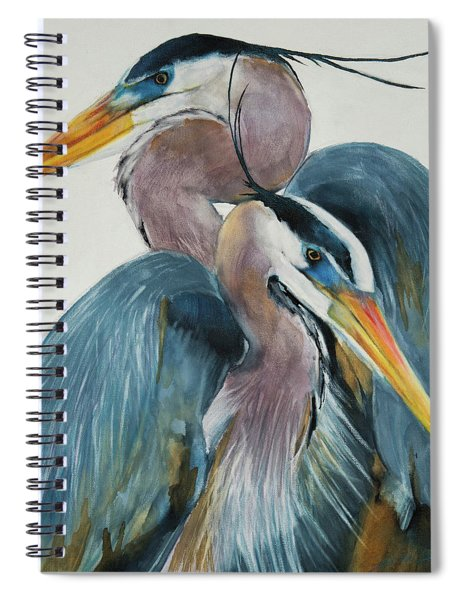 Great Blue Heron Couple Spiral Notebook by Jani Freimann
