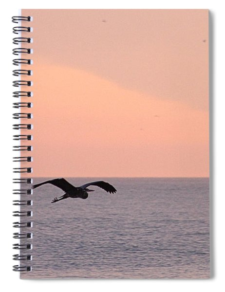Great Blue Heron Flying Over The Atlantic Spiral Notebook