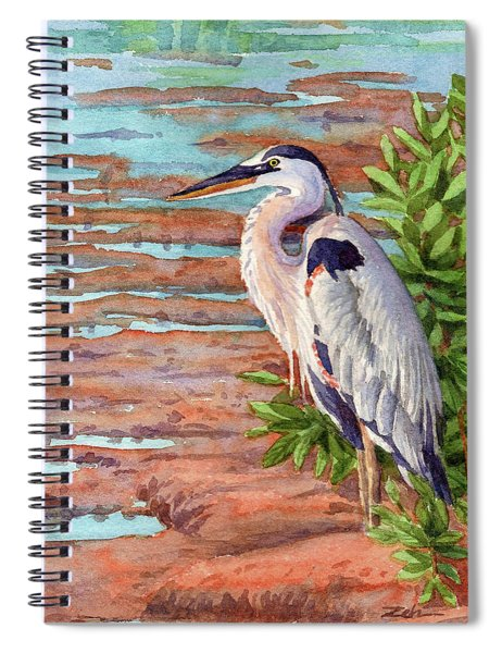 Great Blue Heron In A Marsh Spiral Notebook