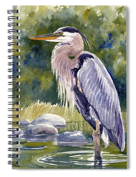 Great Blue Heron In A Stream Spiral Notebook