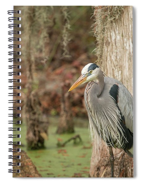 Great Blue Heron On Guard Spiral Notebook
