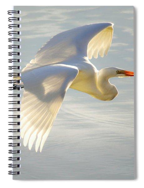 Great Egret Glow Spiral Notebook
