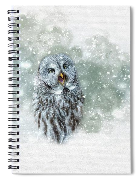 Great Grey Owl In Snowstorm Spiral Notebook