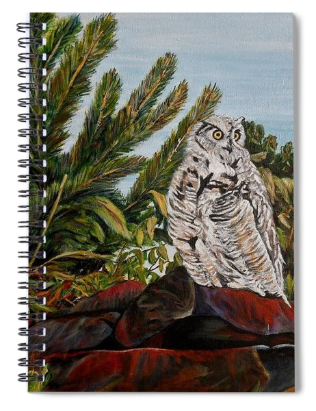Great Horned Owl - Owl On The Rocks Spiral Notebook