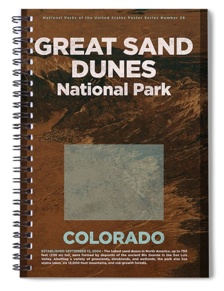 Great Sand Dunes National Park In Colorado Travel Poster Series Of National Parks Number 26 Spiral Notebook