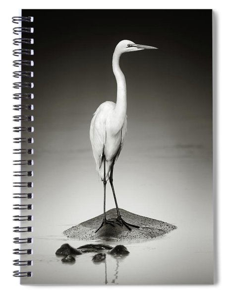 Great White Egret On Hippo Spiral Notebook