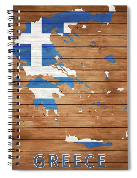 Greece Rustic Map On Wood Spiral Notebook
