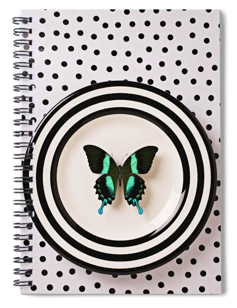 Green And Black Butterfly On Plate Spiral Notebook